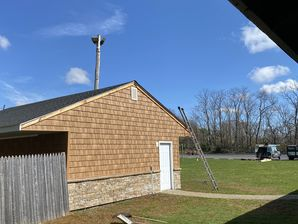 Roof, Cultured Stone and Cedar Impression of the Colts Neck Firehouse storage building in Freehold, NJ (1)