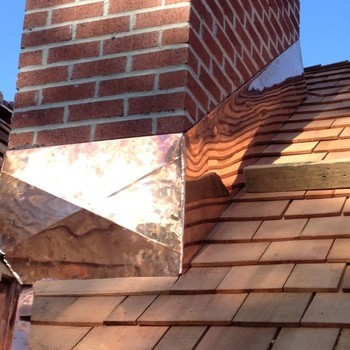 Copper Chimney Flashing on cedar shake roof in Rumson, NJ